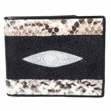 Kanthima Genuine Stingray Python Skin Leather Classic Men Bifold ID Card Wallet