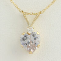 "NEW CZ Heart & Pendant W/ Necklace - 10k Yellow Gold 18"" Chain Cubic Zirconias"