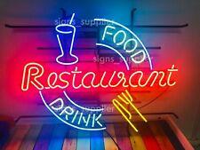 "New Food Drink Restaurant Open Eat Neon Sign Light Lamp 32""x24"" Beer Glass Bar"