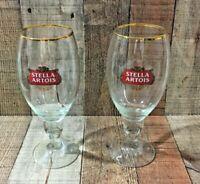 Stella Artois Belgian Lager 2 Beer Stemmed Gold Rim Glass 50 cl 16.9 ounce pair