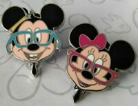 Mickey & Minnie Mouse Nerds Rock in Glasses Head Booster Disney Pin Set