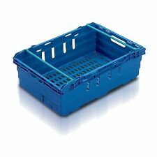More details for 10x 35 litre – stacking & nesting bale arm plastic storage boxes in green