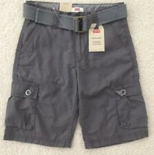 """Nwt Boys Levis Cargo Gray Shorts Size 8 Regular W 24"""" With Belt Msrp$32 New"""