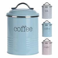 Set of 3 Tin Metal Retro Style Tea Coffee Sugar Storage Tins Caddies