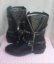 """First Love by Penny Loves Kenny """"Willa"""" Black studded Boots sz 7 new"""