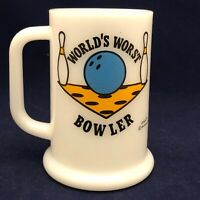 Ziggy World's Worst Bowler Milk Glass Mug Universal Press Syndicate 1972