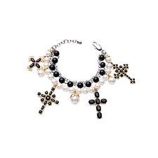 NEW * Anthropologie Quad Cross Charm Black White Faux Pearl Bracelet
