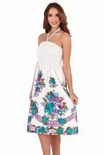 Ladies 100% Cotton Summer/Beach 3 in 1 Strapless  Floral Border Sun Dress Skirt