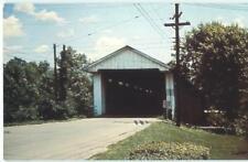North Manchester Indiana Covered Bridge 1950s Antique Chrome Postcard  25839