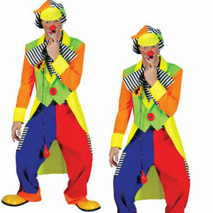 Mens Clown Tailcoat + Trousers Adults Circus Clown Fancy Dress Costume
