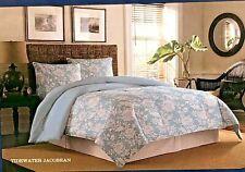 Tommy Bahama 3pc Queen Comforter Set Tide Water Jacobean Seafoam Blue White RV