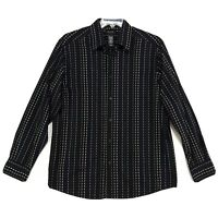 Axcess Claiborne Shirt Mens Size L Large Black Long Sleeve Button Front