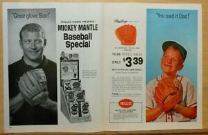 1964 double page magazine ad for Phillies Cigars - Mickey Mantle & son, glove