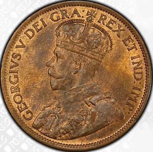 1916 1c Cent George V Canada Large Cent PCGS MS 64+ RB