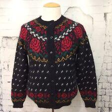 ASHLEY 45% Mohair Women's M Fair Isle Knit Sweater Black Floral 55% Acrylic