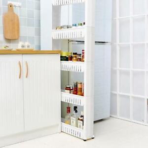 5 Tier Mobile Shelving Unit Slim Slide Out Organizer Storage Kitchen Tower Rack