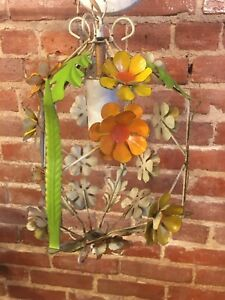 VTG ITALIAN Style Shabby Chic TOLEWARE Daisy TOLE Hanging Light Cage Chandelier