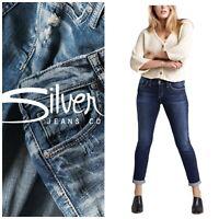 NWT Silver Slim Boyfriend Jeans Plus Sz 34 x 27 Thick Stitch Dark Indigo Wash