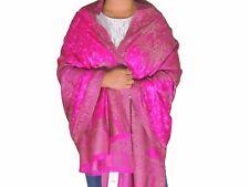 "Magenta Floral Embroidered Kashmir Shawl Evening Wool Large Dress Wrap Scarf 80"""