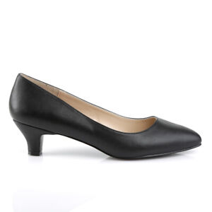 "2"" Black Leather Low Heels Mens Crossdresser Pumps Shoes in Womans size 13 14 15"