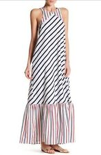 NWT Canvas by Lands' End Striped Cutout Maxi Dress Large L 12 14 Red White Blue