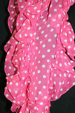 Ralph Lauren Scarf Pink with white polka dots Ruffled Ends Pure Silk 50 inch new