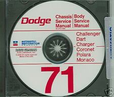 1971 DODGE CHALLENGER /CHARGER SHOP/BODY  MANUAL ON CD