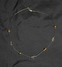 SILPADA - N0598 - Wire Necklace Citrine Green/Bronze FWP SS Crimped Beads - RET