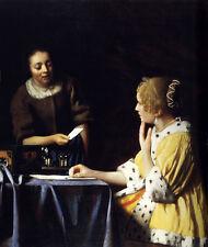 """Huge art Oil painting Johannes Vermeer - Female Mistress and Maid canvas 36"""""""
