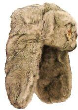 SOVIET MILITARY USHANKA HAT Mens Medium cream fur trapper Russian cossack +badge