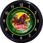 Pony Express Country Club Beer Tray Wall Clock St Joseph MO Sacramento Cowboy