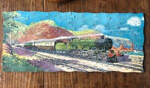 """VINTAGE WOODEN CHAD VALLEY JIGSAW PUZZLE """" THE CORNISH RIVIERA EXPRESS COMPLETE"""