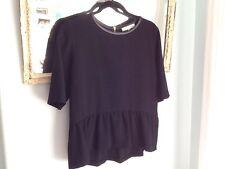 SANDRO Black Evening Peplum Leather Trim Blouse Top Size 3