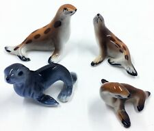 4 Porcelain Seal & Sea Lion Figurines Miniature Brown & Gray Hand Painted