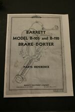 Barrett Brake Doktor Shoe Grinder Parts Manual Archer Tool B105 B110