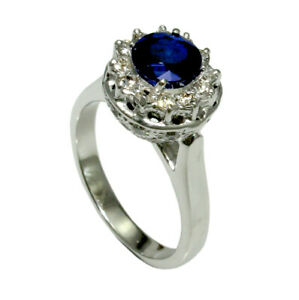 Natural Blue Sapphire Round Gemstone Gold Plated 925 Sterling Silver Women Ring