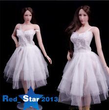 1/6 White Ballet Skirt Wedding Evening Dress F 12'' PH Large Bust Body