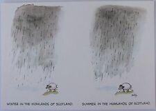 "Cartoon postcard ""Winter / Summer in the Highlands of Scotland"""