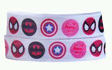Fold over elastic FOE 2m pink superheroes