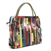 Multicolor Patch Real Leather Shoulder Bag Tote Handbag Purse Crossbody 2 Handle