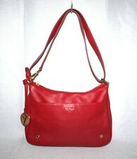 FURLA Red Pebbled Leather Convertible Crossbody Shoulder Bag