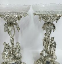 Stunning Pr Antique English Sterling Silver Epergne Centerpieces. Elkington 1871