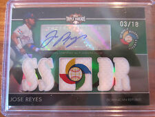 2009 TOPPS TRIPLE THREADS JOSE REYES WBC AUTOGRAPH/TRIPLE JERSEY CARD /18
