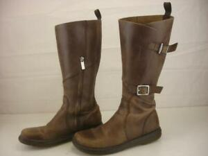 Dr. Martens Women's UK 6 US 8 Caite Double Buckle Tall Boots Brown Leather Biker