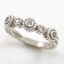 Judith Ripka Mint Green Sapphire Clear CZ Rope Sterling Silver Ring Size 7