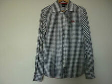 MEN'S MOSSIMO GREENISH/GREYISH & WHITE CHECKED L/S SHIRT W/RED PINSTRIPE -SIZE S