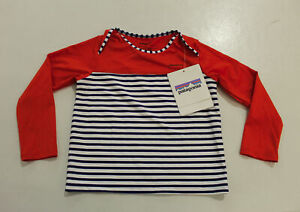 Patagonia Baby Little Sol Striped Rashguard SV3 Red Size 4T NWT
