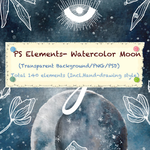 Photoshop PS DIY Resources/Elements - 140 Watercolor Garland & Moon PNG   PSD