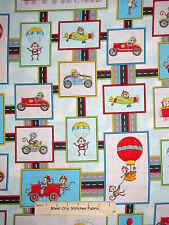 Monkey Race Car Hot Air Balloon Cotton Fabric HG&Co #6347-11 Monkey Around Yard