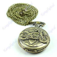Bronze Motorcycle Motorbike MOTO Pocket Watch Necklace Pendant Retro Gift